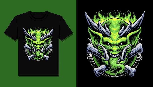T 셔츠 디자인을위한 녹색 귀신 괴물