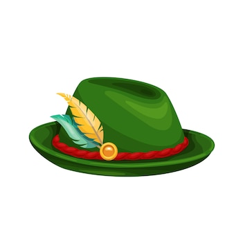 Green oktoberfest hat with feather. traditional man's beer festival oktoberfest folk outfit. vector illustration.