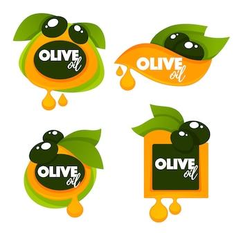 Зеленые оливковые листья, надписи и брызги масла, коллекция шаблонов логотипов, этикеток, символов