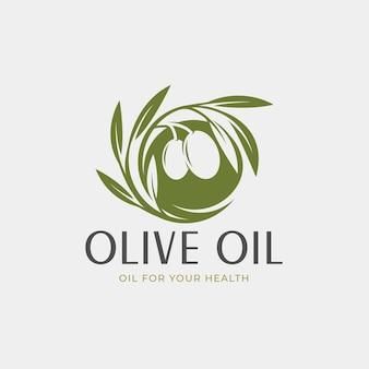 Дизайн логотипа круга зеленого оливкового масла