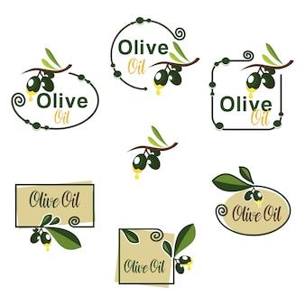 Green olive oil fruit with branch leaf badge