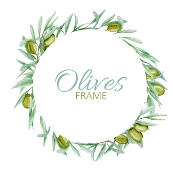 Green olive tree branch leaves wreath