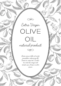 Green olives oval wreath doodle composition with beautiful blooms and inscription