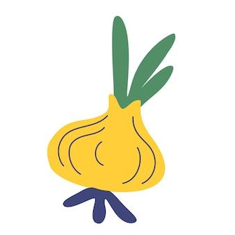 Зеленый лук. значок в мультяшном стиле. вкусный и полезный овощ, употребляемый в пищу. свежие овощи фермерского рынка. векторная иллюстрация свежего лука.