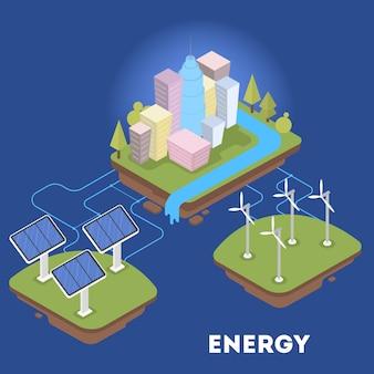 都市のグリーンまたは代替エネルギー。ソーラーパネルと風力タービン。エコフレンドリーな町。等角投影図