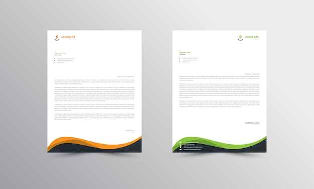 Green and orange abstract letterhead template