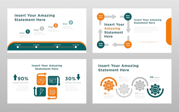 Green orange colored business concept power point presentation pages template