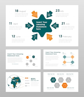 Green orange and gray colored business concept power point presentation pages template