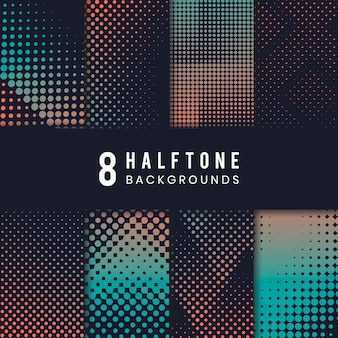 Green and orange halftone background vector set