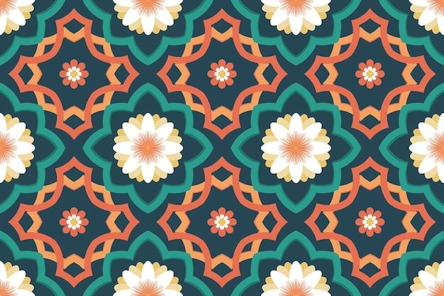 グリーンオレンジイスラムモロッコ民族幾何学的な花のタイルアートオリエンタルシームレスな伝統的なパターン。背景、カーペット、壁紙の背景、衣類、ラッピング、バティック、ファブリックのデザイン。ベクター。