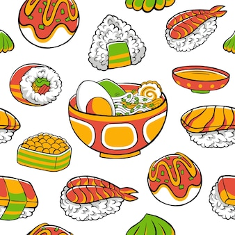 Green and orange japanese food seamless pattern in flat design style