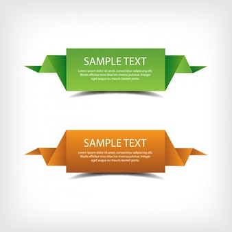 Green and orange origami banners
