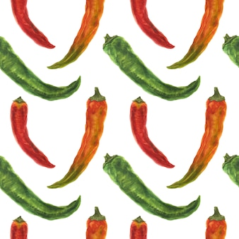 Green, orange and red hot peppers, watercolor seamless pattern