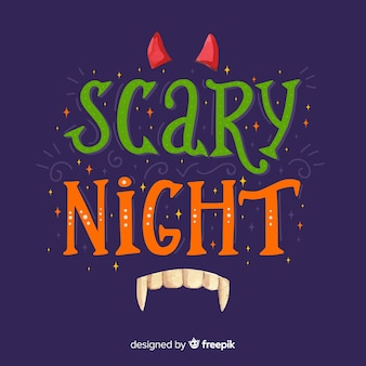 Green and orange scary night lettering