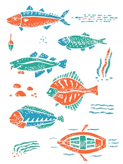 Green orange set of fishes in naive lino cut style