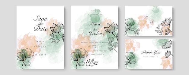 Зеленый оранжевый акварельный свадебный шаблон приглашения карты с золотым цветочным декором. абстрактный фон сохранить дату, приглашение, поздравительную открытку, многоцелевой вектор