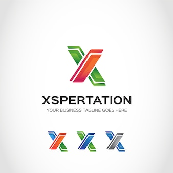 Green and orange x logo design