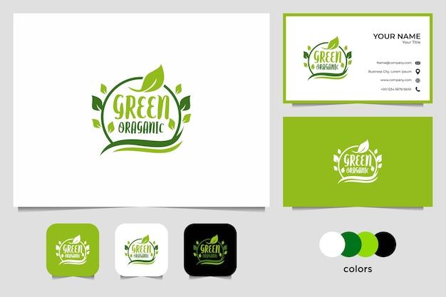 Зеленый органический дизайн логотипа и визитная карточка