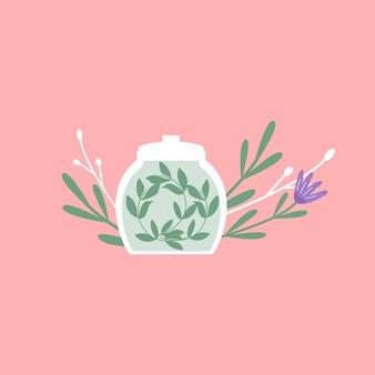 ガラスの瓶に入った緑色の有機天然ホメオパシー錠剤。ホメオパシー治療バナー、ハーブ代替医療、エッセンシャルナチュラルオイル、ハーブ薬局、栄養補助食品。フラットベクトル。