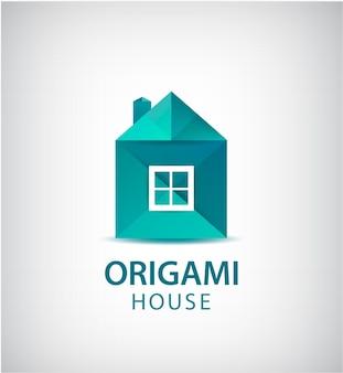 녹색 종이 접기 집, 건물 로고 프리미엄 벡터