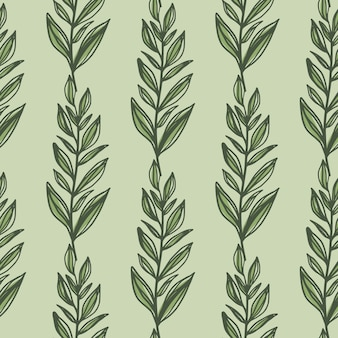 緑の輪郭は枝のシームレスなパターンを残します。パステルライトオリーブの背景。シンプルな花の背景。