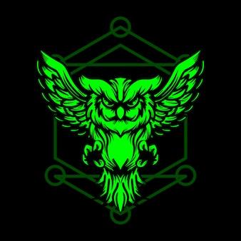 緑のフクロウ手描きイラスト