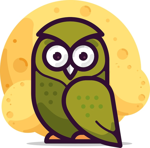 Green owl with moon illustration