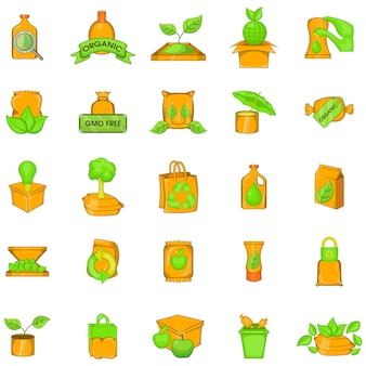 Green package icons set, cartoon style