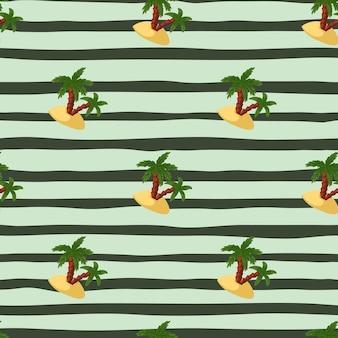 Зеленые пальмы и остров формирует бесшовный образец в стиле каракули. полосатый синий фон. летний фон. предназначен для тканевого дизайна, текстильной печати, упаковки, обложки. векторная иллюстрация.