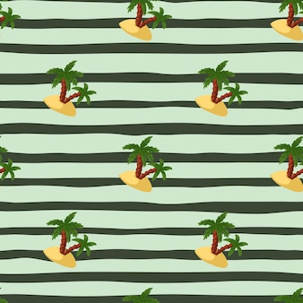 Green palms and island shapes seamless pattern in doodle style. striped blue background. summer backdrop. designed for fabric design, textile print, wrapping, cover. vector illustration.