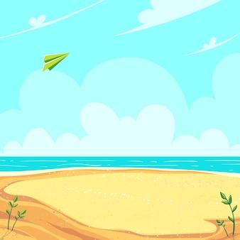Зеленый бумажный самолетик, летящий в облаках над песчаным берегом моря. векторная иллюстрация фона