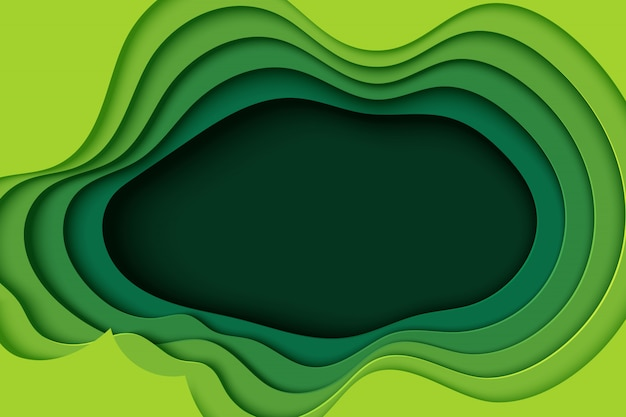 Green paper cut abstract background