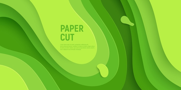 Green paper cut with 3d slime abstract background and green waves layers.