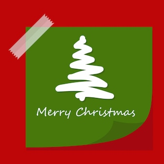 Green paper note with christmas