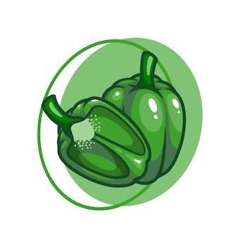 Зеленый перец огурцы овощи рисунок дизайн иллюстрации