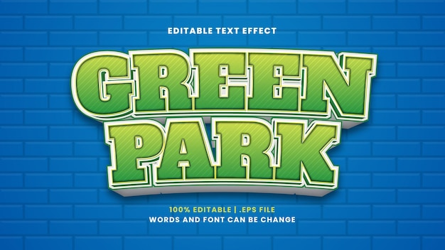 Green park editable text effect in modern 3d style