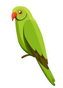 Зеленая птица-попугай. попугай на ветке плакатов, иллюстрирование детских книг. тропическая птица мультяшном стиле. изолированные на белом фоне.