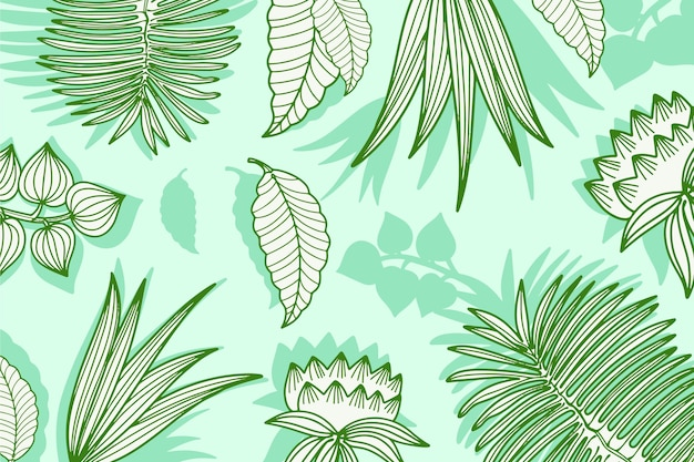 Green pastel linear tropical leaves background