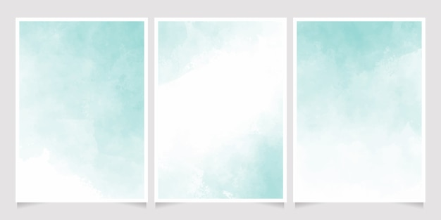 Green pastel watercolor wet wash splash 5x7 invitation card background template collection