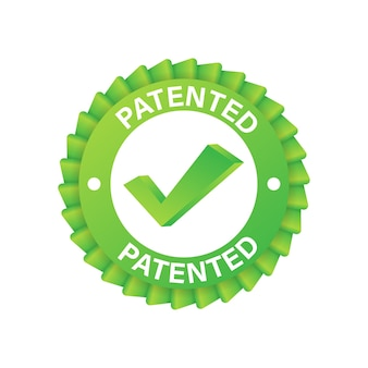 Green patented label on blue ribbon on white background. vector stock illustration