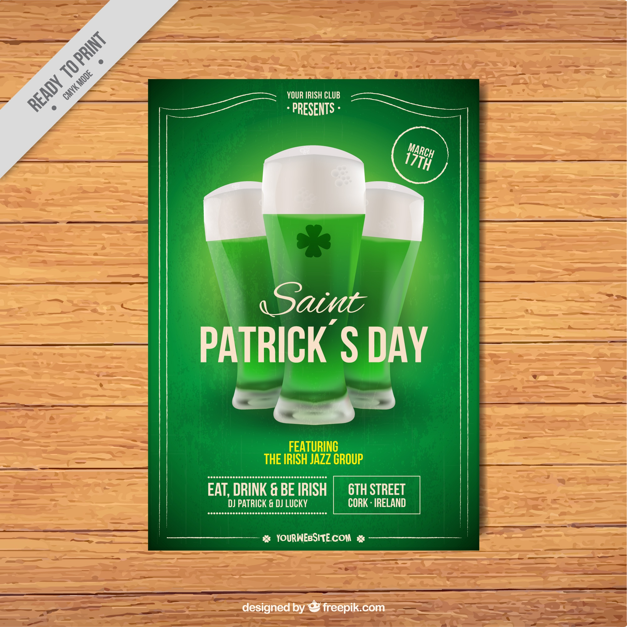 Green patrick's day leaflet