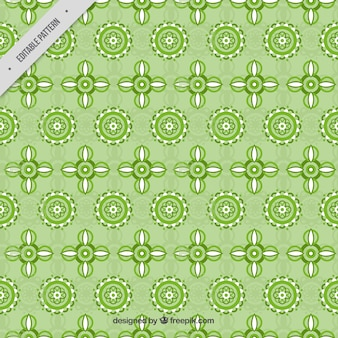 Green pattern of geometric flowers
