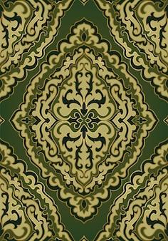 ダマスク織の緑のパターン。シームレスな東の飾り。