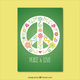 녹색 평화와 사랑 카드