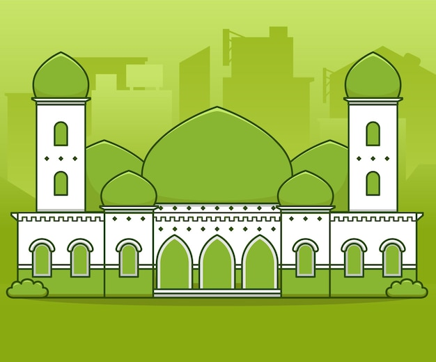 Green peaceful big grand mosque with minaret tower and green dome in middle city   illustration cartoon style