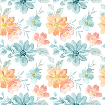 緑の桃の花の水彩画のシームレスなパターン