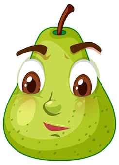 Green pear cartoon character with confused face expression on white background