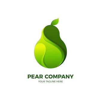 Green pear fresh fruit 3d logo template