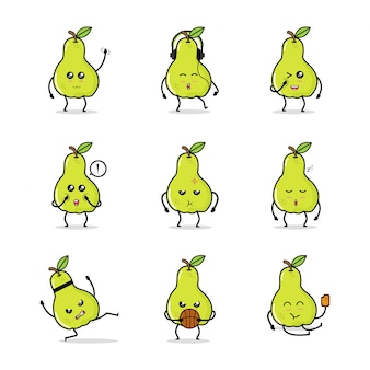Green pear fruit icon animation cartoon character mascot life daily sport activity basket ice cream