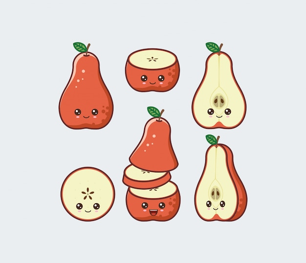 Green pear set drawn cute kawaii food faces